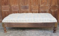Vintage Carved Day Bed With Cushion Mattress - <b>SOLD<b>